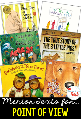 Primary mentor text suggested book list for Point of View- focusing on how characters in the text feel about other characters or events that happen- also can compare to the way that readers feel about story, too- RL1.6, RL2.6, RL3.6