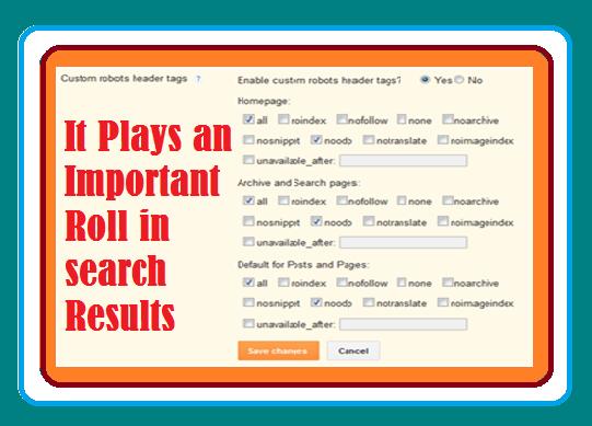 How to set the Blogger blog custom Robots Header Tags