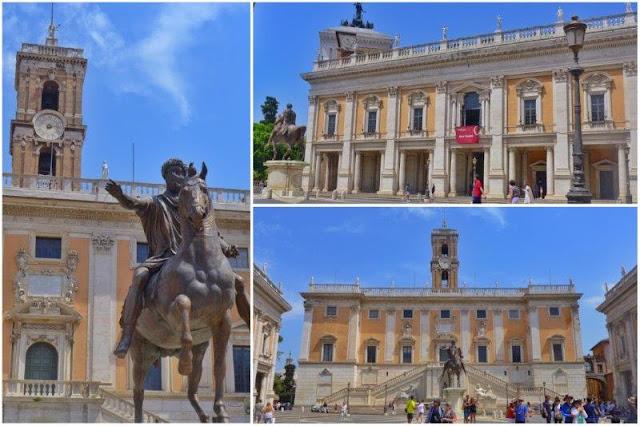 Piazza del Campodiglio en Roma con los Musei Capitolini, Palazzo Nuovo y Palazzo dei Cosnervatori