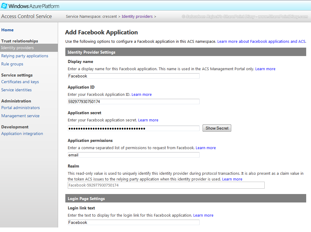 sharepoint 2013 facebook integration