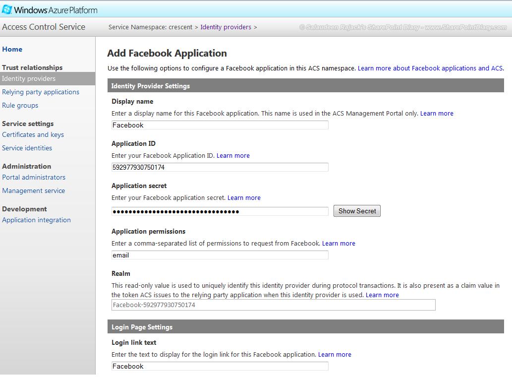 sharepoint 2013 facebook integration