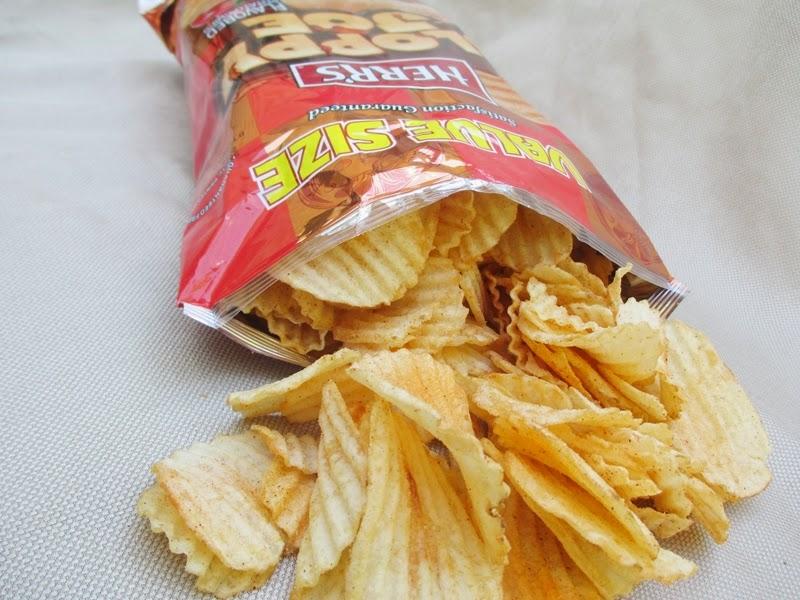 Herr's Sloppy Joe Potato Chips Spilling from Bag