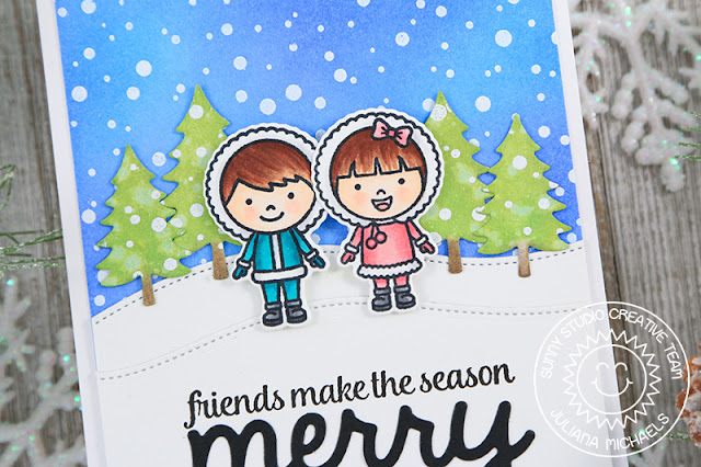 Sunny Studio Stamps: Eskimo Kisses Frosty Flurries Merry Sentiments Woodland Borders Friendship Christmas Card by Juliana Michaels