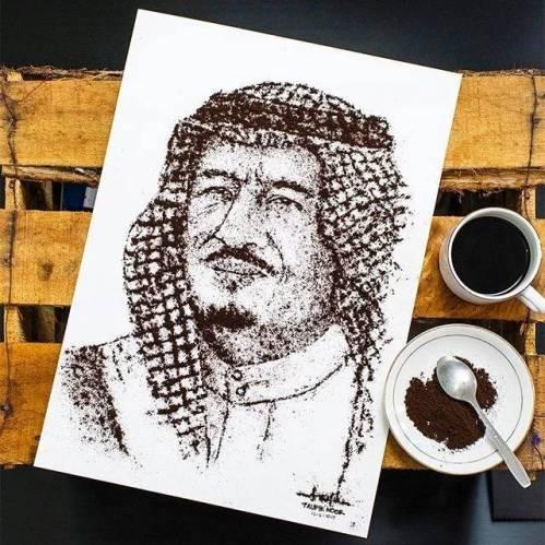 Lukisan King Salman Dari Serbuk Kopi