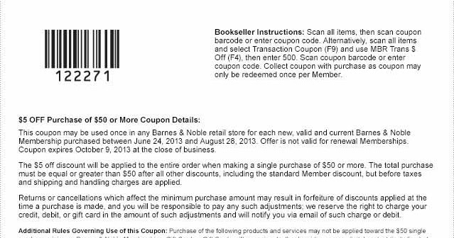 Barnes and noble coupon code september 2018