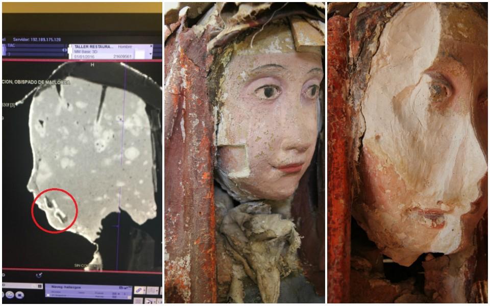 Boca original localizada bajo el rostro visible de María Magdalena
