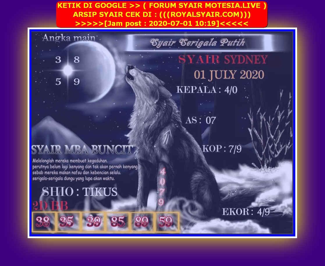 Kode syair Sydney Rabu 1 Juli 2020 213