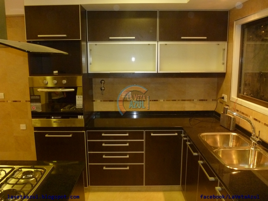 La Veta Azul Mueble Cocina En Melamina Wengue Con Cantos En Aluminio