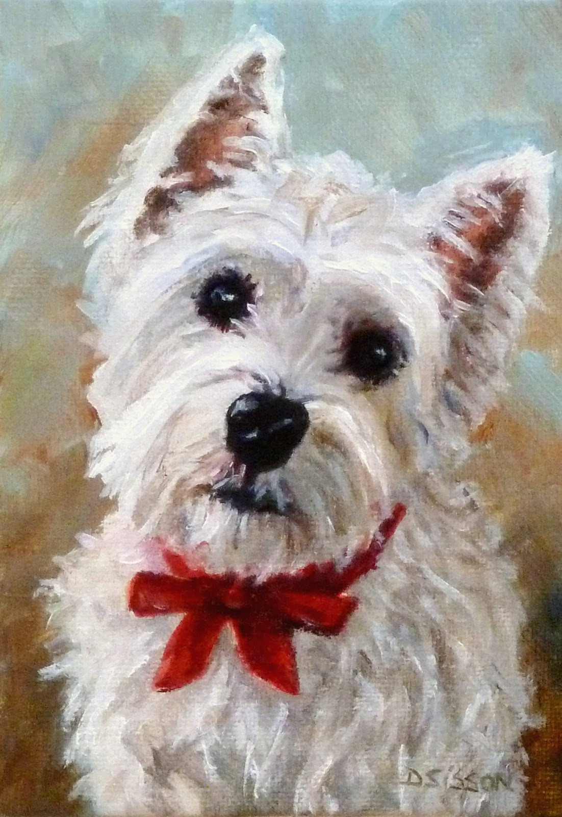 Daily painting projects westie puppy oil dog painting pet for Dog painting artist