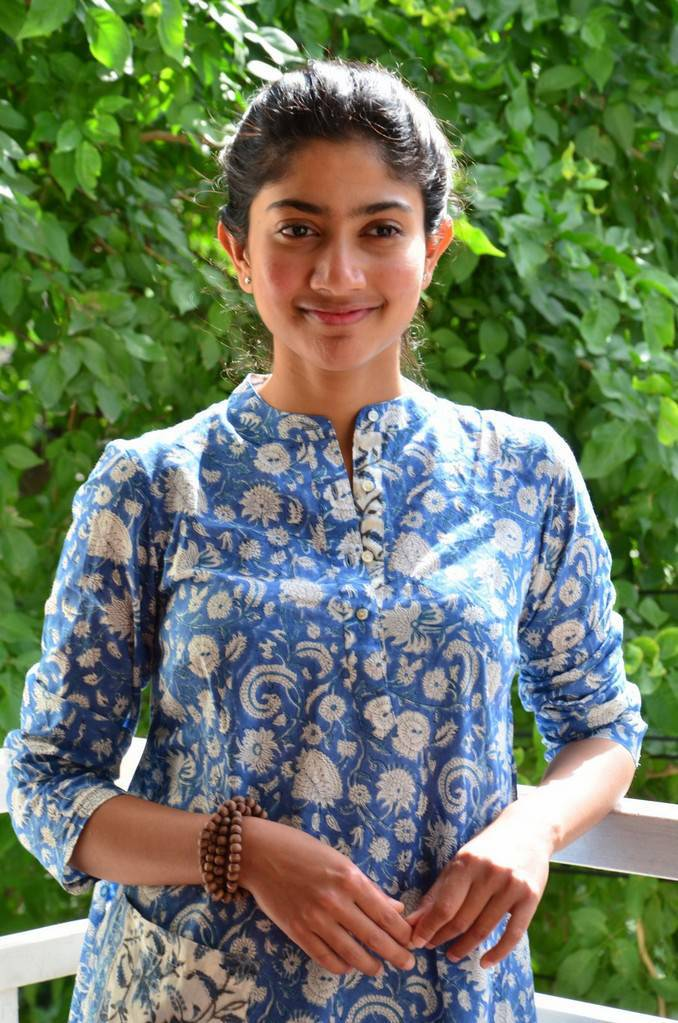 Sai Pallavi Stills In Blue Dress At Fida Movie Interview
