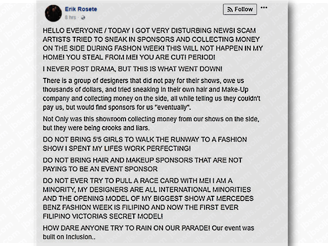 "Seven Filipina models including the daughter of a top Filipino performer Gary Valenciano, Kiana, and Miss Earth 2014 Jamie Herrell have denied access to the Los Angeles Fashion Week. Eric Rosete, the producer of the show, said that he didn't want Filipino models to walk on his runway show, according to makeup artists Cherry Ordoñez and Alan del Rosario. There were also reports that an LA fashion week staff asked the Filipino models to leave.  However, Rosete clarified that the said incident was not about the Filipina models or racism. He said that he had problems with Jacob Meir,  the Stars Fashion House founder who invited the Filipino models to the show.  Advertisement         Sponsored Links       LA fashion week is on a backlash after one of its shows allegedly banned Filipina models.  Fashion label For the Stars Fashion House denied backstage access to singer Kiana Valenciano together with six other Filipino models.       Eric Rosete, the producer of the show, said that he didn't want Filipino models to walk on his runway show, according to makeup artists Cherry Ordoñez and Alan del Rosario.  There were also reports that an LA fashion week staff asked the Filipino models to leave.   ""This is just going to make us tougher. What doesn't kill you makes you stronger."" - my daughter Kiana on not being allowed to walk on the LA FASHION WEEK opening show. Former Miss Earth Jamie Herrell and Kiana together with 5 Filipino models (some of who had previously walked on the ramp for Fashion Week) were not being allowed to walk of the ramp for LA FASHION WEEK. ""No Filipinos allowed to walk on the ramp!"" We want to ask WHY? It was bad enough that you didn't want to allow the girls but was there a need to publicly humiliate them? And there were only three designers on that 9pm slot. And two were Filipino - Rocky Gathercole and Resty Lagare. Filipino models could not walk for the Filipino designers? Thank you to Jacob Meir of For the Stars Fashion House for standing his ground and fighting for the Filipinos as the five models, Jamie and Kiana were his personal choices. 👏🏻👏🏻👏🏻👏🏻 Thank you to @verygathercole @coutureprince @eliemadi for standing by the Philippine models, Jamie and Kiana. @forthestarsfashionhouse @kianavee @jherrell94 @cherryssalon @victoria_belo @johnlozano10 @rajolaurel @tony33chua @manilagenesis @garyvalenciano @chuckgomez05 @pacificrimvideo @kris_p_pata @kathlynanne @sthanlee @steve_angeles_ @noreen_lanie @petergonzaga salamat. The world is getting darker. We actually ought to just choose to be kind and just. What an experience ! Thank God our daughter lives for far more than just fame and glory. #kianavalenciano #kiana #lafashionweek #spreadlove @erikrosete  A post shared by Angeli Pangilinan Valenciano (@angelipv) on Mar 14, 2018 at 3:11am PDT     Designers Gathercole and Lagare stood by the models and said they will be hosting their show at a later date.  The incident has sparked social-media outrage. However, Erik Rosete aired his side through a social media post which is now deleted.       Meanwhile, the rejection from LA Fashion Week drew criticisms and pageant enthusiast page, The Philippine Pageantry demanded an apology from the organizers for discriminating Filipinos. ""We demand an apology Los Angeles Fashion Week and rectification on the discrimination against us Filipinos,"" the page wrote.          Read More:  5 Signs A Person Is Going To Be Poor And 5 Signs You Are Going To Be RichTips On How To Handle Money For OFWs And Their Families How Much Can Filipinos Earn 1-10 Years After Finishing College?   Former Executive Secretary Worked As a Domestic Worker In Hong Kong Due To Inadequate Salary In PH    Beware Of  Fake Online Registration System Which Collects $10 From OFWs— POEA      Is It True, Duterte Might Expand Overseas Workers Deployment Ban To Countries With Many Cases of Abuse?  Do You Agree With The Proposed Filipino Deployment Ban To Abusive Host Countries?"