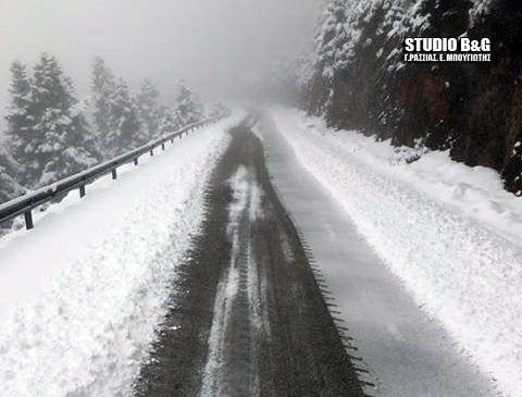 Έντονη χιονόπτωση στα ορεινά της Αργολίδας - Ποιοι δρόμοι έχουν κλείσει στην Πελοπόννησο