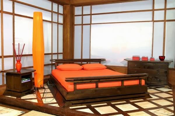 decoración cuarto marrón naranja