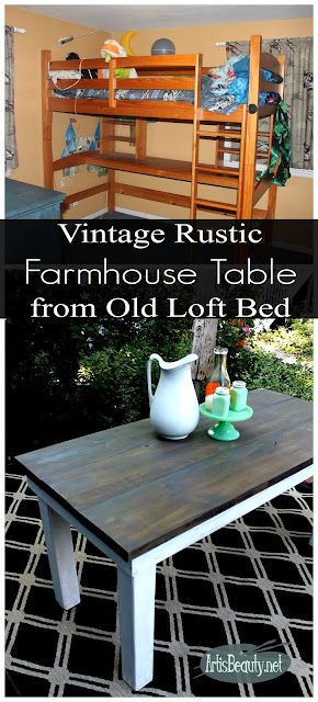 vintage rustic farmhouse table from old loft bed build it yourself diy karin chudy recycled upcycled lumber fixer upper