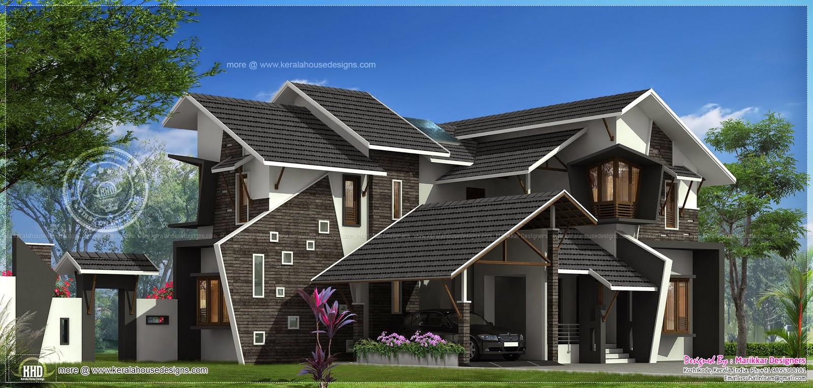 2988 sq-ft uniquely designed house exterior - Kerala home ...