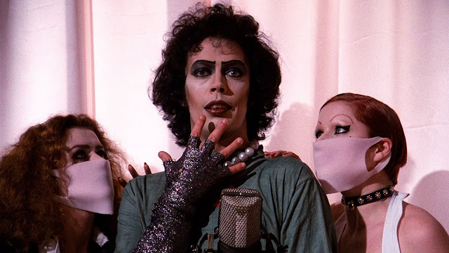 Patricia Quinn, Tim Curry, and Nell Campbell in The Rocky Horror Picture Show (1975)