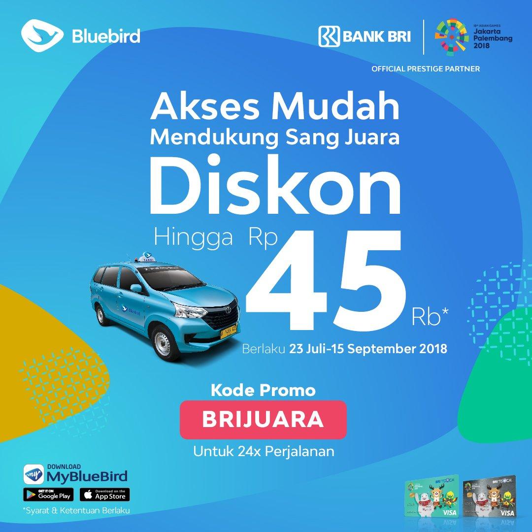 BlueBird - Promo Diskon s.d 45 Ribu Pakai Kartu Kredit BRI (s.d 15 Sept 2018)