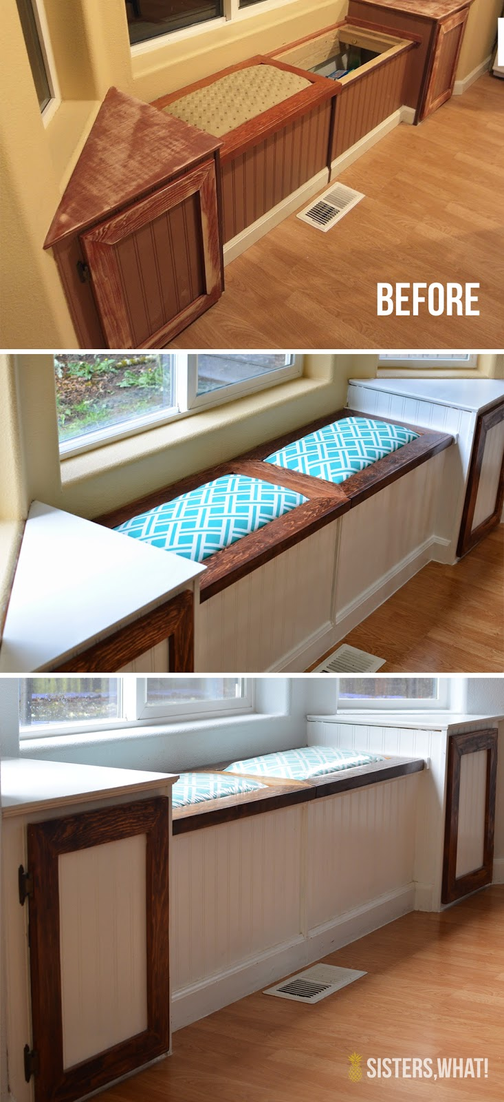 a two toned diy kitchen remodel painted window seat