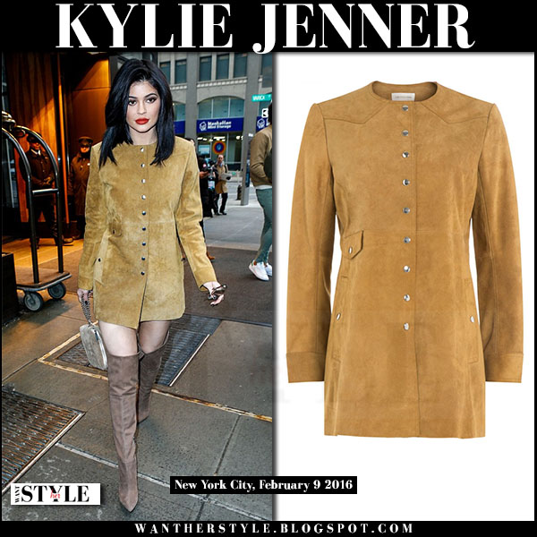 Kylie Jenner in camel suede isabel marant adler coat and suede boots what she wore streetstyle 70s style