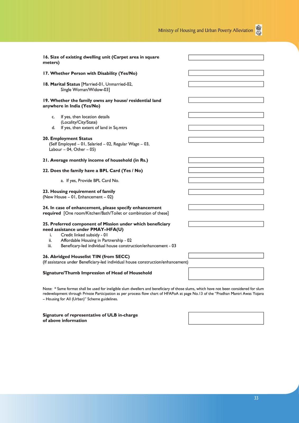PM Awas Yojana Application Form ~ Prime Minister's Schemes