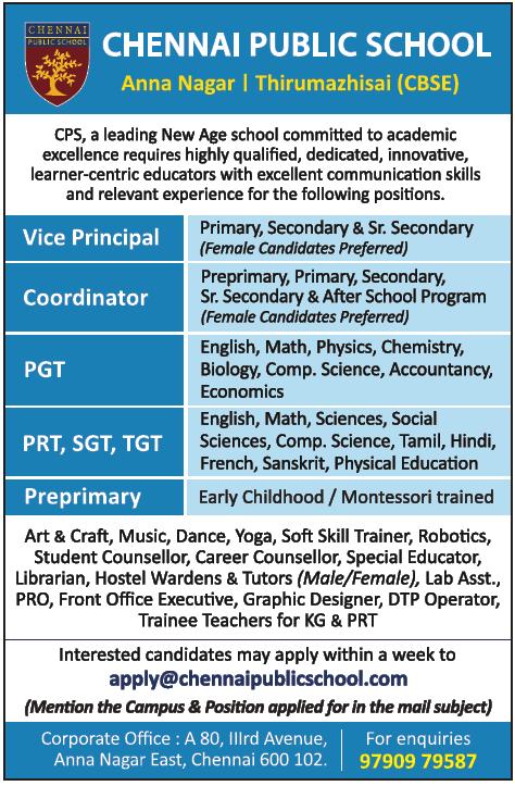 early childhood teacher jobs in chennai