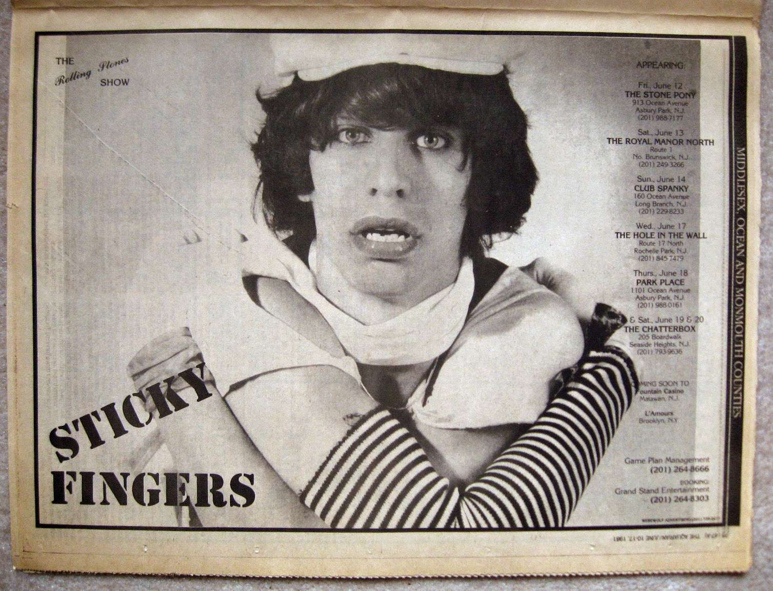 Sticky Fingers full page ad