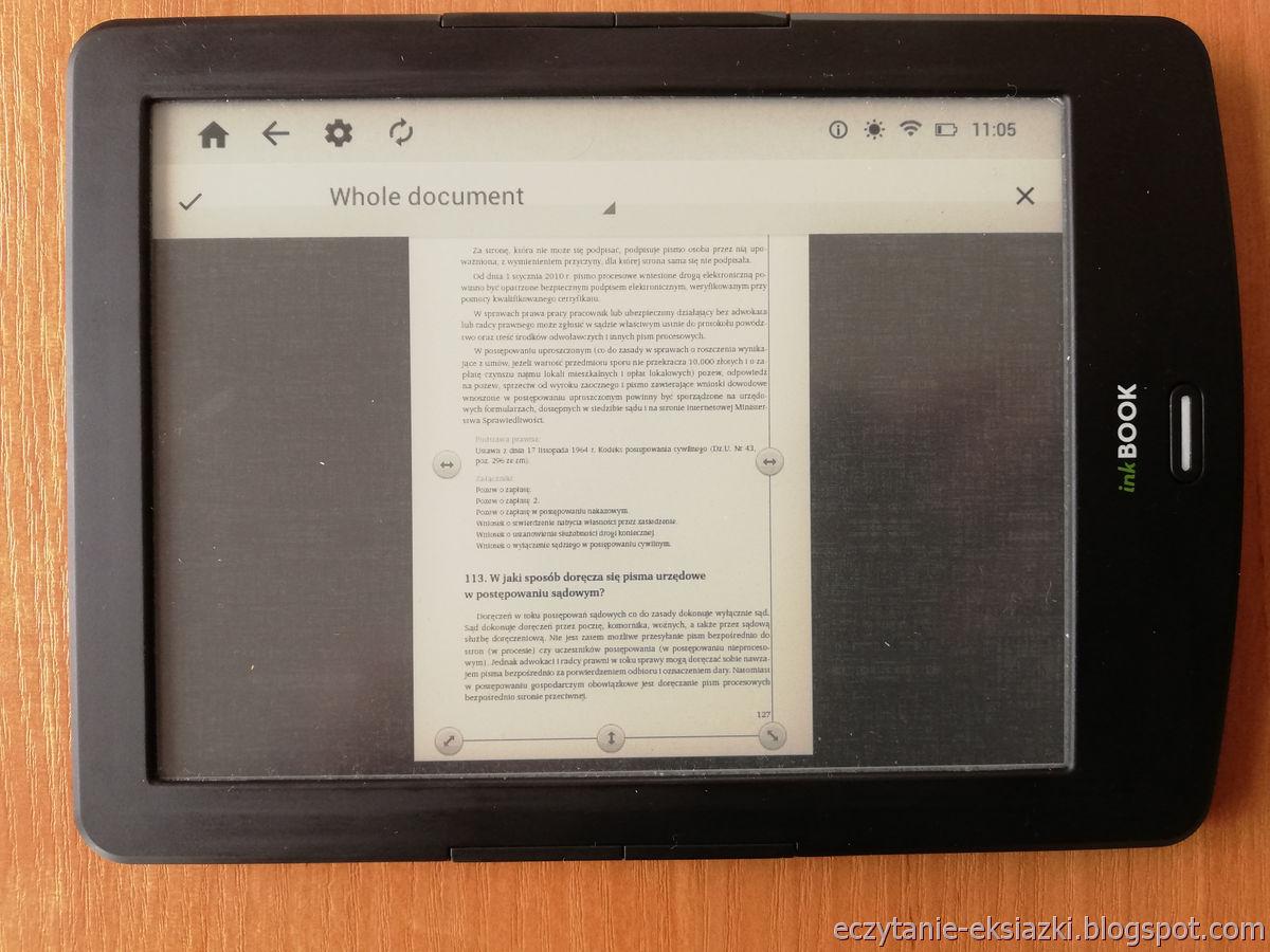 PocketBook Reader InkBOOK LUMOS – ręczne przycinanie marginesów w pliku PDF