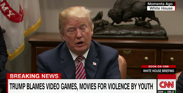 President Donald Trump blames violent video games movies for violence by youth sleepy eyes closed