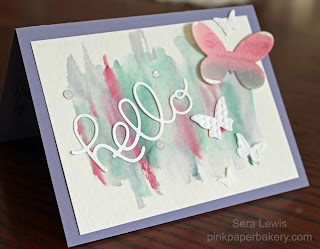 Stampin' Up! Happy Hello card uses watercolor and die cuts