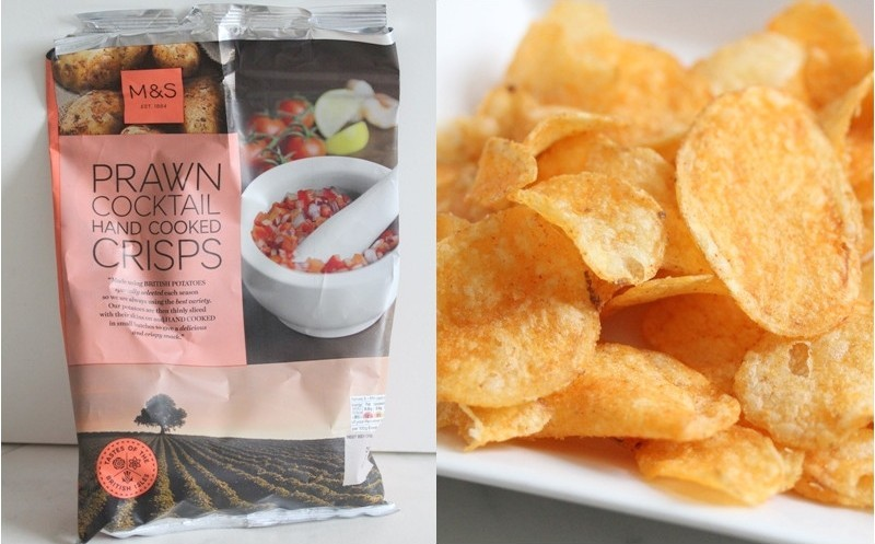 Marks and Spencer prawn cocktail hand cooked crisps potato chips