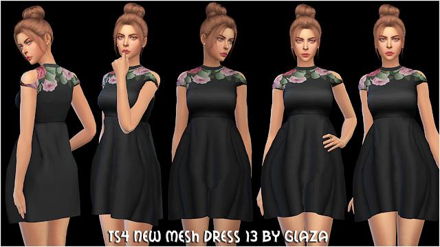 TS4 NEW MESH DRESS 13 BY GLAZA