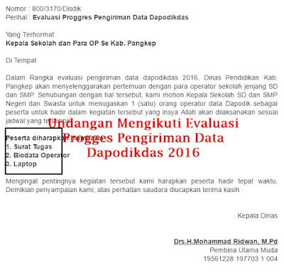 Undangan Mengikuti Evaluasi Progges Pengiriman Data Dapodikdas 2016