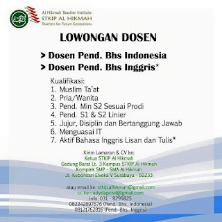 Lowongan Dosen Surabaya - Lowongan Dosen Surabaya 2017 kali ini ditujukan untuk Kampus STKIP Al Hikmah kota Surabaya. Nantinya akan menjadi Dosen Pendidikan Bahasa Indonesia dan Dosen Pendidikan Bahasa Inggris.
