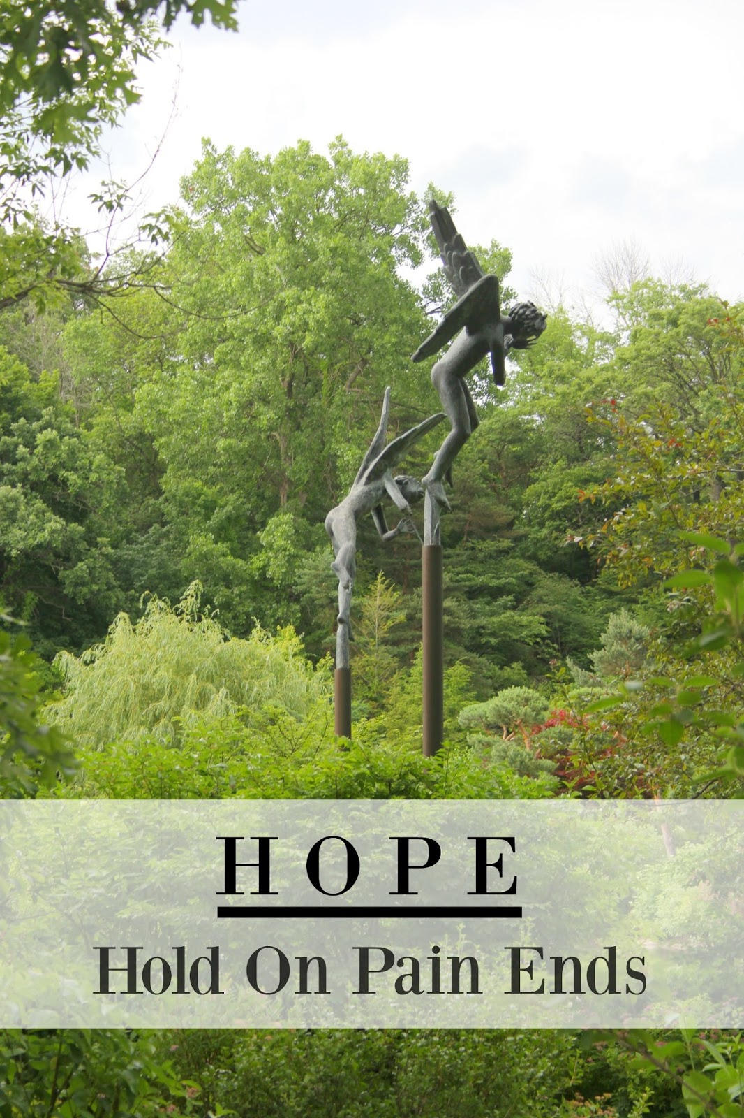 HOPE. Hold on pain ends. A photo of bronze sculptures in a Japanese garden by Michele of Hello Lovely Studio. #hope #hellolovelystudio #quote #encouragement