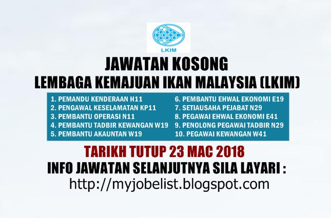 Jawatan Kosong Lembaga Kemajuan Ikan Malaysia (LKIM) Mac 2018