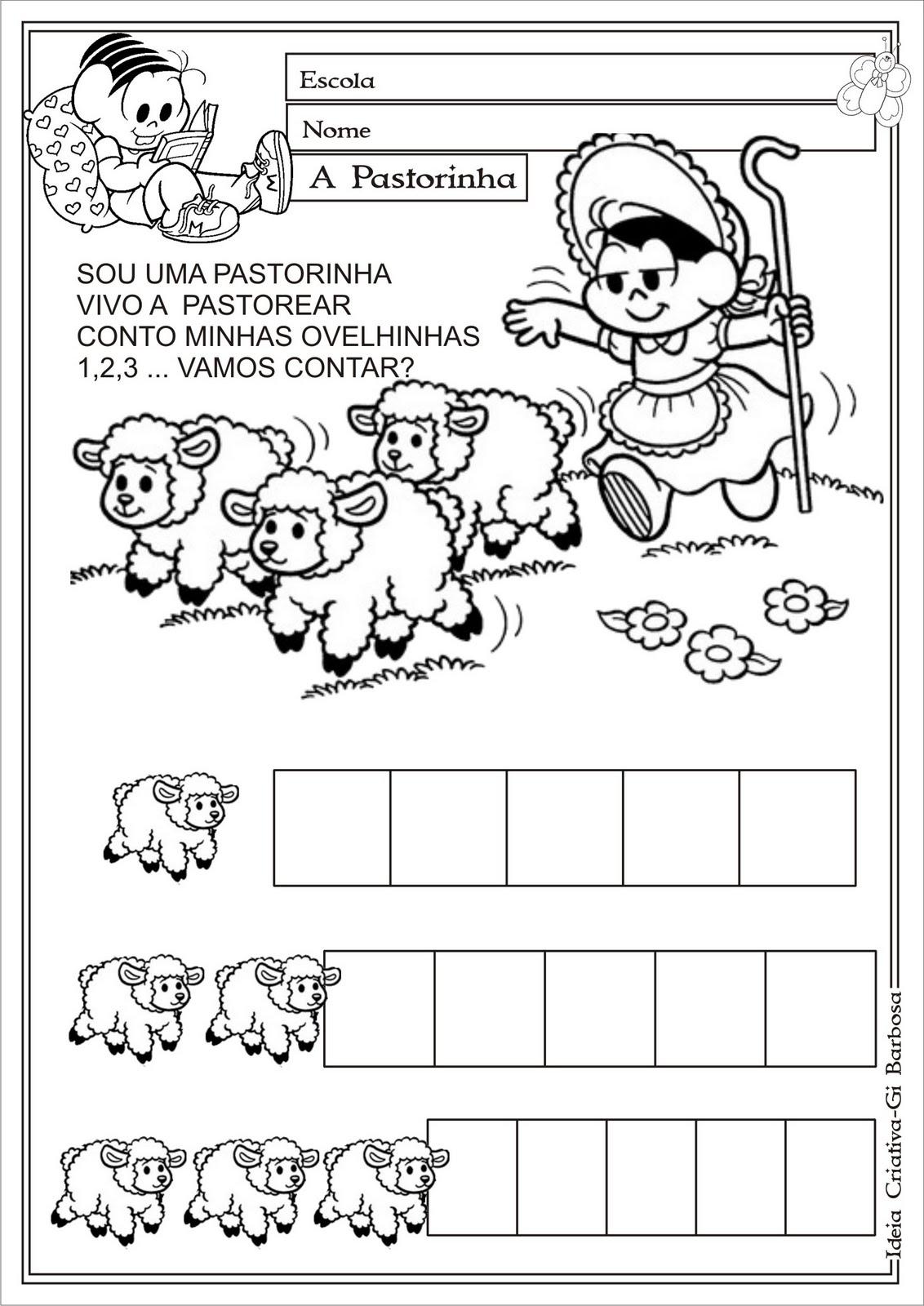 Atividade A Pastorinha Numerais Educacao Infantil