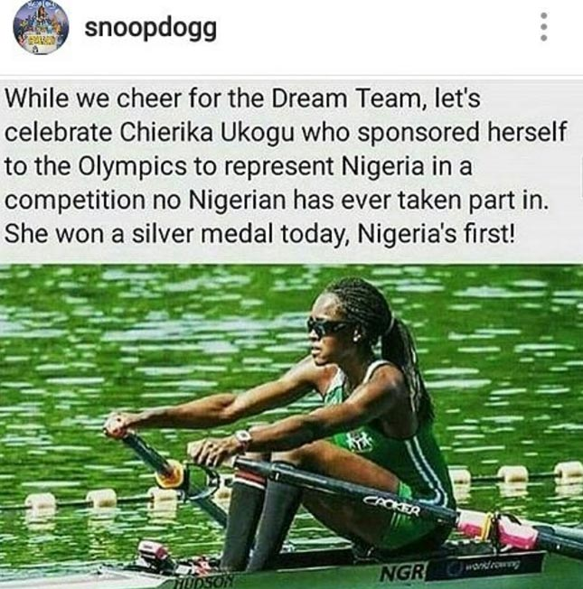 Olympics: Snoop Dogg celebrates Team Nigeria's Chierika Ukogu as she qualifies for Rowing finals