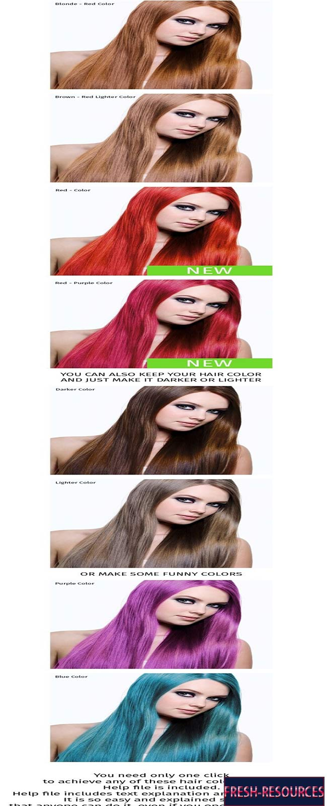 Hair Color Photoshop Action Free Download Fresh Resources