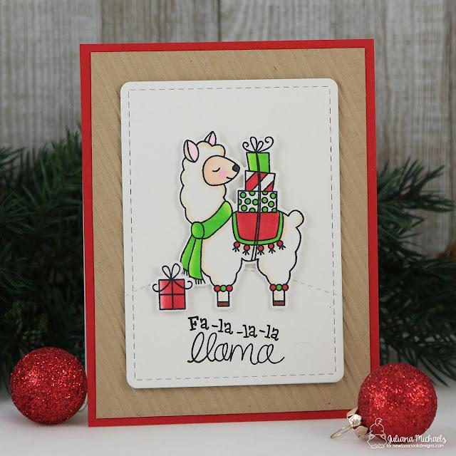 Fa La La La Llama Christmas Card by Juliana Michaels featuring Newton's Nook Designs Special Delivery Stamp Set