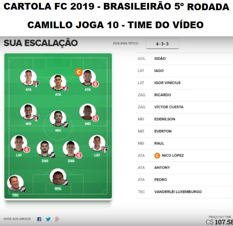 C A R T O L A F C  2019 - RODADA 5 DICAS - NICO, GUERRERO E MAIS 10?  -  ( Camillo J O G A 1 0 )