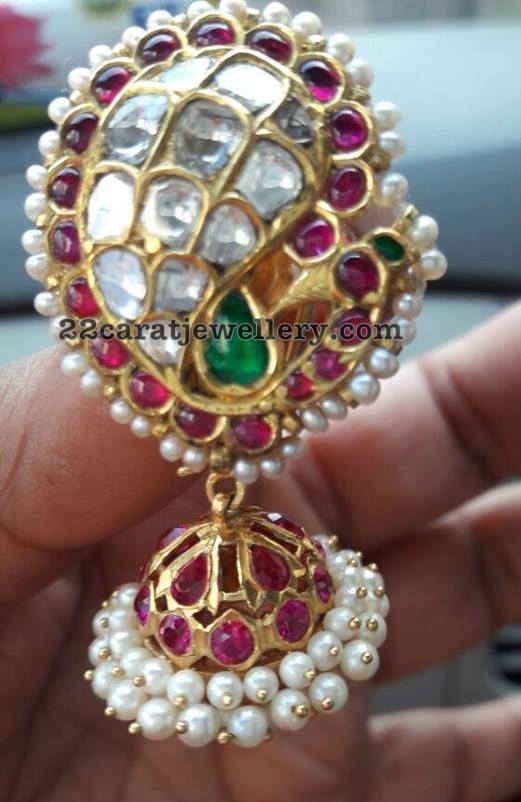 Kundan and Antique Jhumkas by Vasavi Jewels