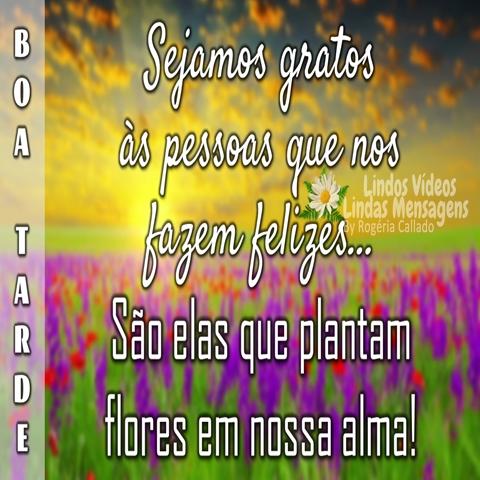 Sejamos gratos   às pessoas que nos   fazem felizes...  São elas que plantam  flores em nossa alma! Boa Tarde!
