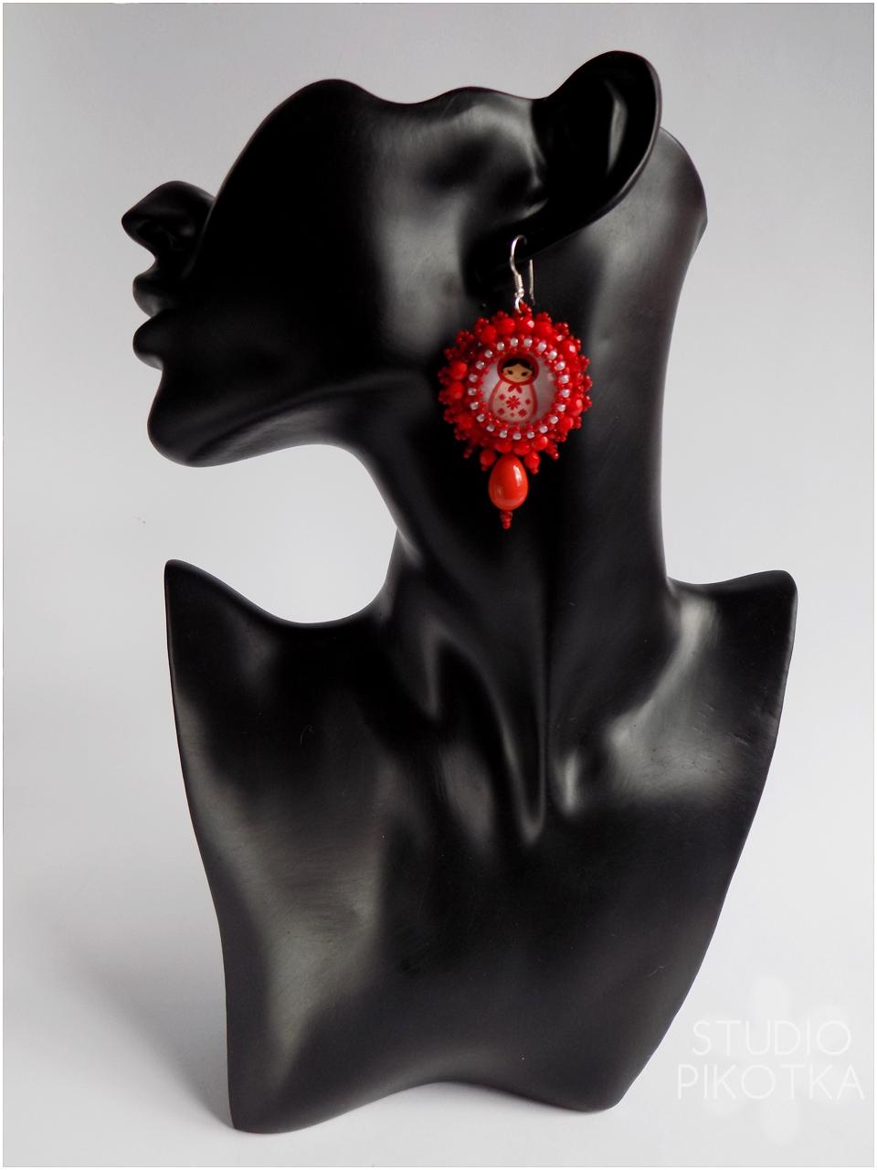 kolczyki, kaboszon, haft koralikowy, rękodzieło, handmade, biżuteria, koraliki toho, koraliki fire polish