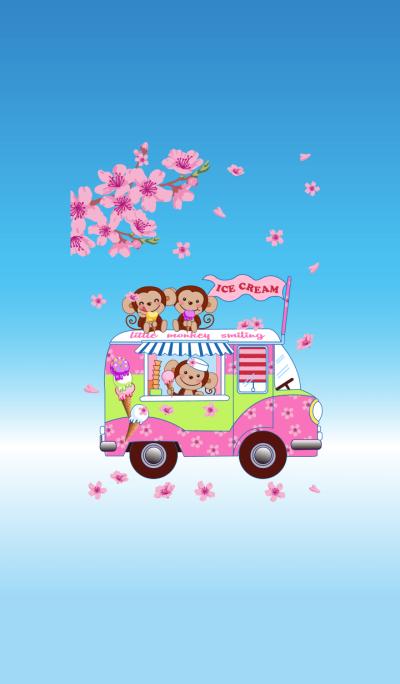 Smiling little monkey~Sakura Ice Cream