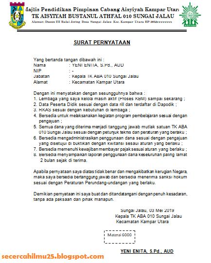 Contoh Surat Pernyataan Lembaga PAUD Guna Pencairan Dana BOP PAUD Tahun 2019 Tahap I