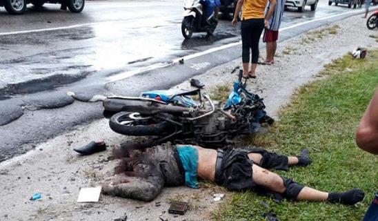 Seorang Pria Pengendara Sepeda Motor Suzuki Shogun, Kepalanya Hancur Ditabrak Mobil Innova dan Sopir Buron