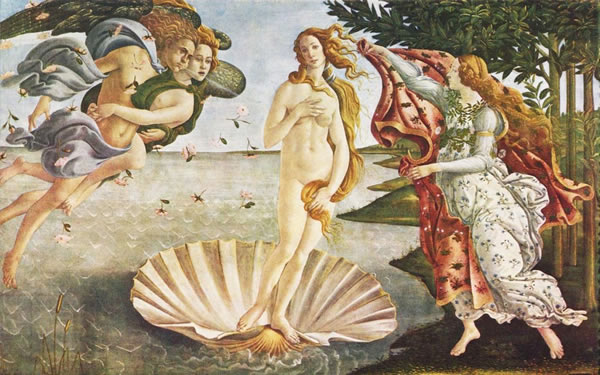 Mythological paintings of Sandro Botticelli: The birth of Venus