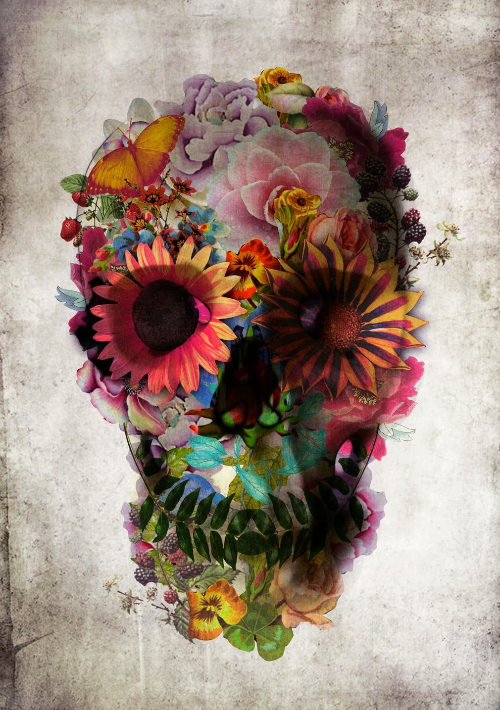 ©Ali Gulec. The Message. Decorative Skulls. Mixed Media