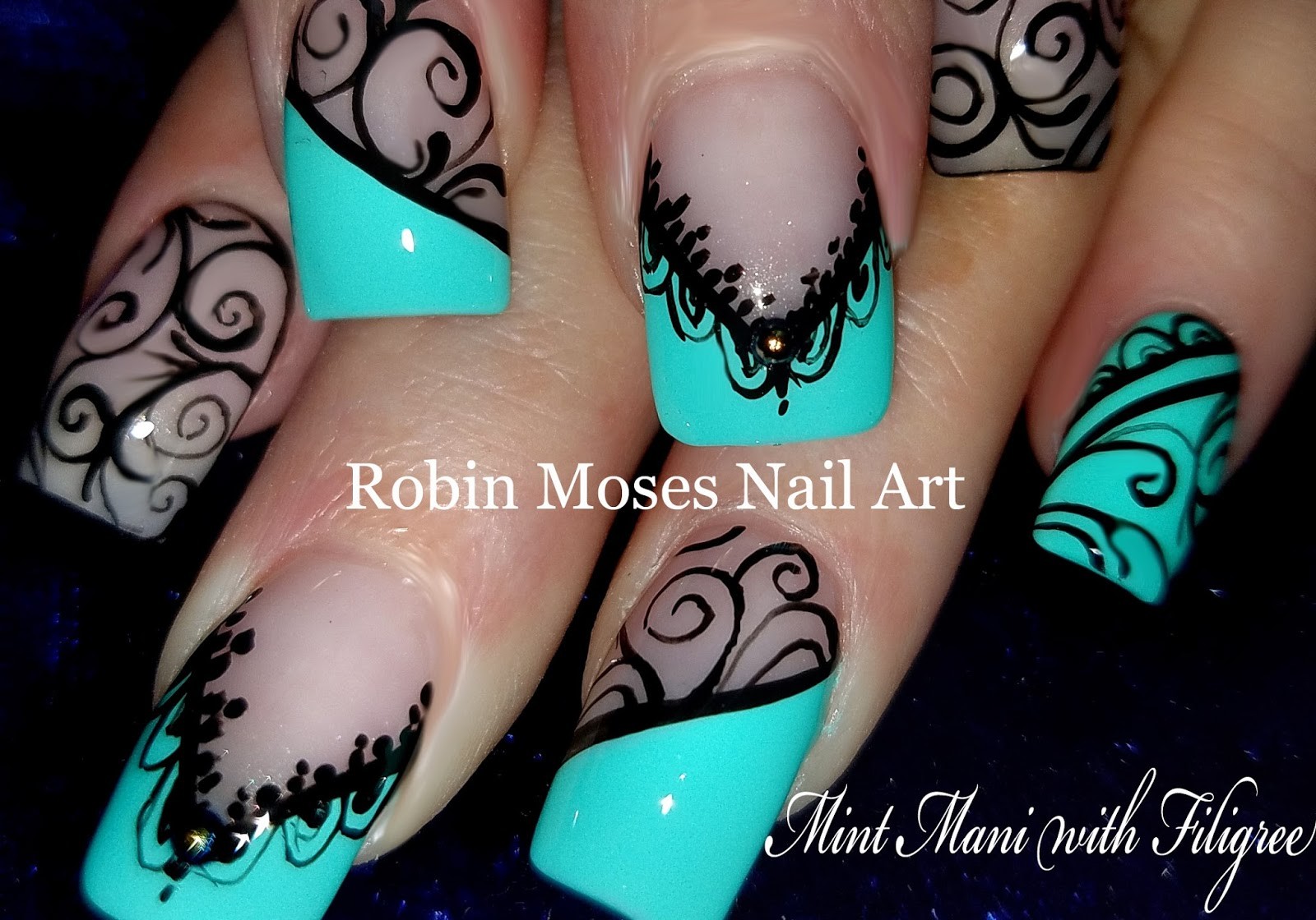 Nail Art By Robin Moses Black Lace Mint Mani Diy Hand Painted