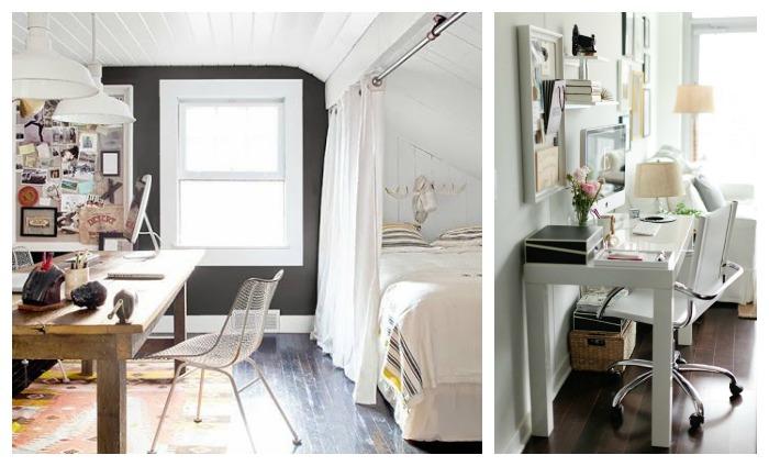 salón dormitorio y zona de estudio en un mismo espacio